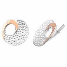 Серебряные серьги с золотой вставкой Лилия