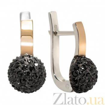 Серебряные серьги Любава с золотом и фианитами BGS--693ч.р._с