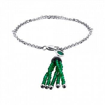 Серебряный браслет с подвеской-кисточкой из бусин оникса 000098756