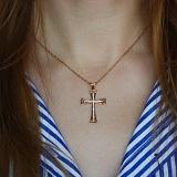 Крест из красного золота Заоблачный с бриллиантами и сапфирами