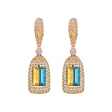 Золотые серьги с сапфирами и бриллиантами  Patria