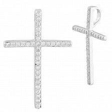 Серебряный крест Ирма со скрытым ушком в дорожках фианитов