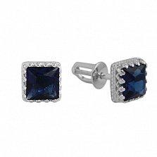 Серебряные пуссеты Гвиневра с синими фианитами