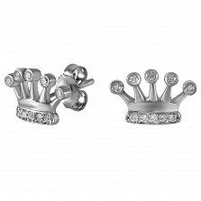 Золотые серьги-пуссеты Царская корона в белом цвете с бриллиантами