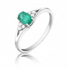 Золотое кольцо Аделия в белом цвете с изумрудом и бриллиантами