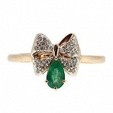 Золотое кольцо с бриллиантами и изумрудом Грета