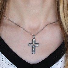 Серебряный крестик Небесный Хранитель с золотой накладкой и чернением