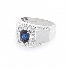 Перстень-печатка из белого золота Торонто с сапфиром и бриллиантами