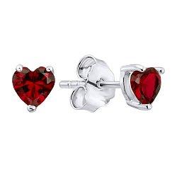 Серебряные серьги-пуссеты с гранатами 000125139