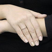 Помолвочное золотое кольцо Нилгири в белом цвете с бриллиантом
