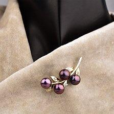 Серебряная брошка Ягодная ветка с фиолетовым жемчугом и белыми фианитами