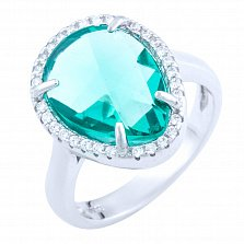 Серебряное кольцо Интисар с синтезированным голубым кварцем и фианитами