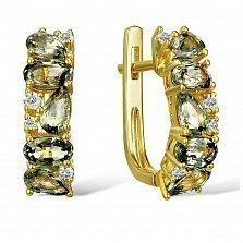 Серьги из желтого золота Жанетта с бриллиантами и сапфирами