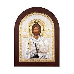 Серебряная икона Спаситель в деревянной рамке 000141198