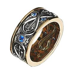 Золотое обручальное кольцо с сапфирами 000010193