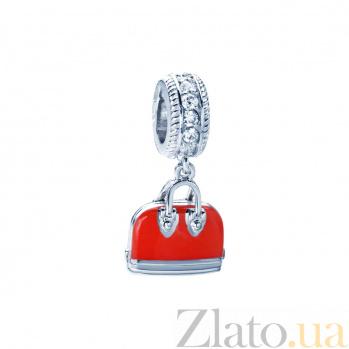 Серебряная бусина с фианитами и красной эмалью Сумочка 000027059
