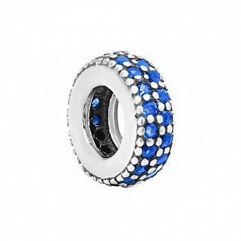 Срібний шарм із синіми фіанітами 000131887
