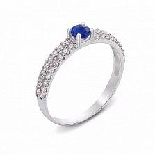 Серебряное кольцо Лана с сапфиром и цирконами
