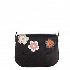 Кожаный клатч Genuine Leather 7801 черного цвета с декоративными цветами на клапане
