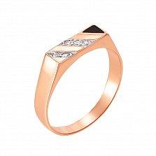 Перстень-печатка в красном и белом золоте Сон с черной эмалью и фианитами