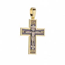 Серебряный крестик Всепрощение с позолотой и чернением