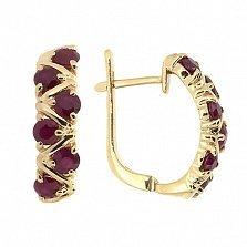Золотые серьги Иоланта с рубинами