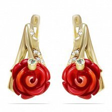 Золотые серьги Розалина с красным кораллом и фианитами