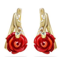 Золотые серьги Розалина с красным кораллом и фианитами 000089554