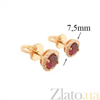 Золотые серьги-пуссеты Кимис в красном цвете с гранатом и цирконием 000045794