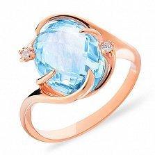Золотое кольцо с топазом и фианитами Эдэйн