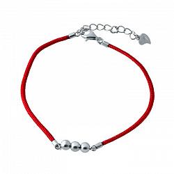 Браслет из серебра и красной нити Три шарика
