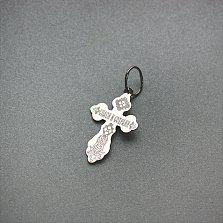 Черненый серебряный крестик Милосердие Господне с алмазными насечками