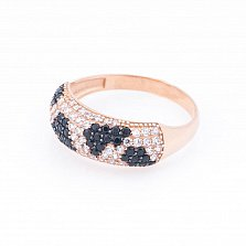 Золотое кольцо Жанна с черными и белыми фианитами