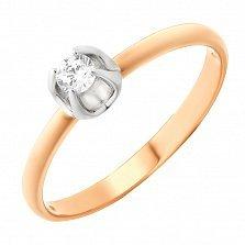 Золотое кольцо Магдалина с фианитом в касте-тюльпане