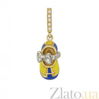 Золотая подвеска Туфелька с бантом в желтом и белом цвете с фианитами, синей и желтой эмалью VLT--Т360-3
