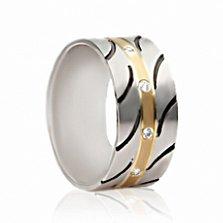 Обручальное золотое кольцо с чернением и фианитами Восхищение