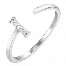 Серебряное кольцо с разомкнутой шинкой Тиа с фианитами в стиле минимализм