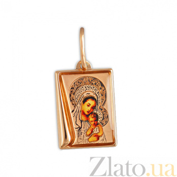 Золотая ладанка с эмалью Богородица 000023769
