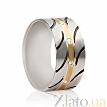 Обручальное золотое кольцо с чернением и фианитами Восхищение SG--4521026