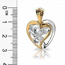 Кулон из комбинированного золота Влюбленная бабочка с бриллиантами