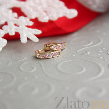 Золотые серьги с белыми и розовыми фианитами Дормео 2076/01/0/115