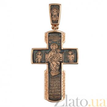Золотой крестик с черным родием Благостный VLT--КС3024-3