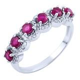 Серебряное кольцо Мирра с рубинами и фианитами