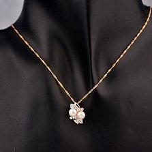 Золотой кулон Климена с белым жемчугом и фианитами