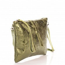 Кожаный клатч Genuine Leather 1544 зеленого цвета с тиснением-бабочками и ремешком