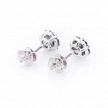 Золотые серьги-пуссеты Хлоя с черными бриллиантами
