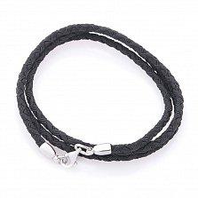 Шелковый черный шнурок Жизнь с серебряной застежкой