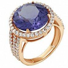 Золотое кольцо Страсть с корундом александрита и фианитами