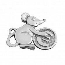 Серебряный сувенир Мышонок с монеткой с чернением