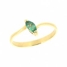 Золотое кольцо Маркиза с изумрудом из желтого золота